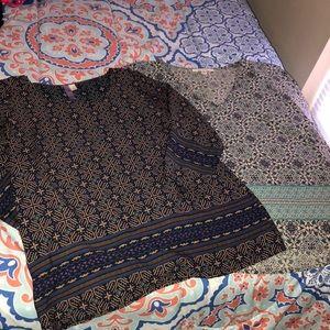 Francesca's lot of 2 patterned blouses